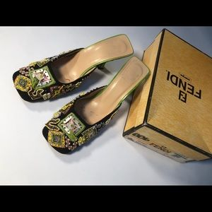 Fendi Embroidered/Beaded Linen Mules